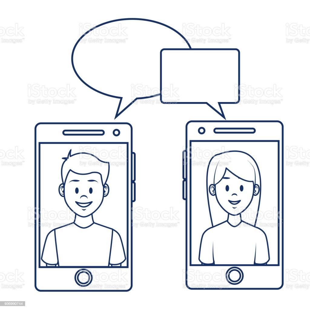 People and social media cartoon vector art illustration