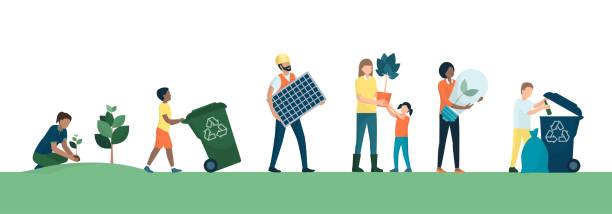 stockillustraties, clipart, cartoons en iconen met mensen en duurzame eco-vriendelijke lifestyle - vrouw schoonmaken