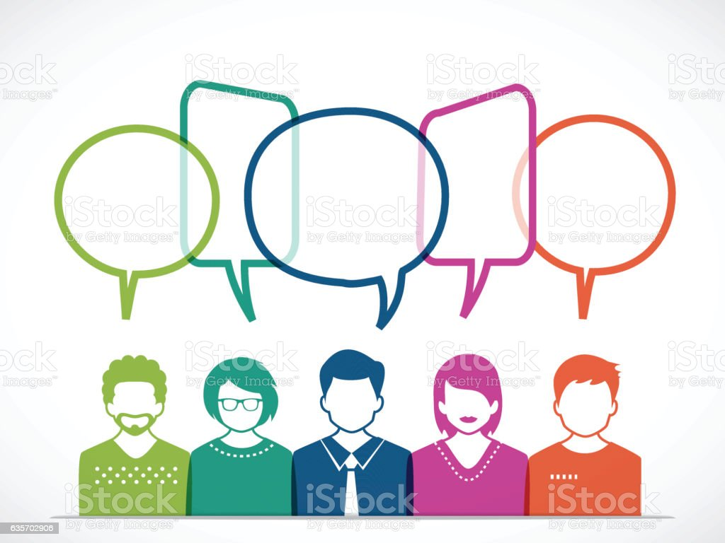 People and Talking with Colored Speech Bubbles vector art illustration