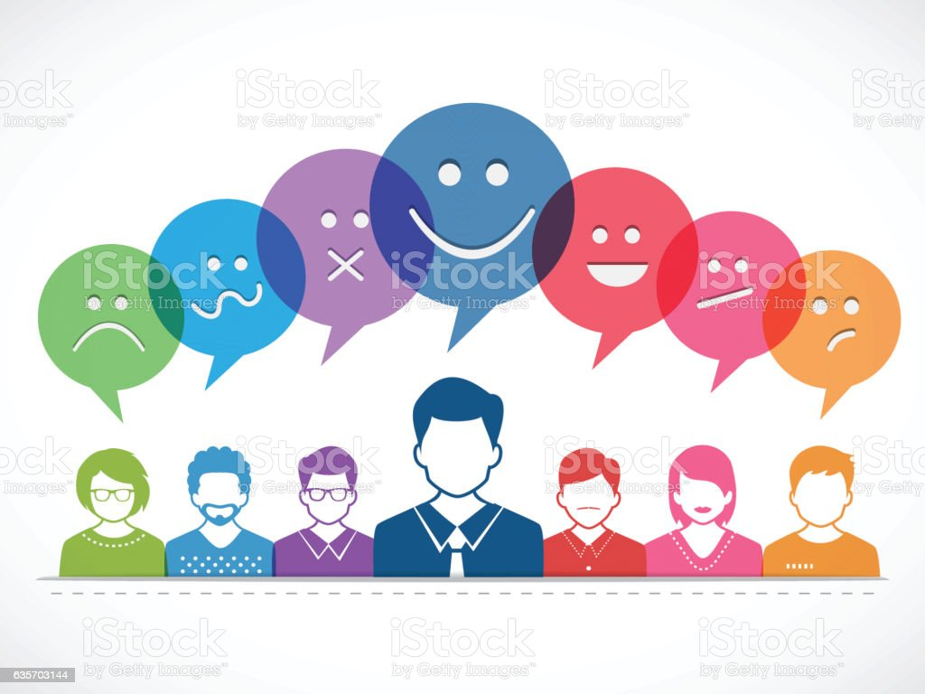 People and Talking with Emotions vector art illustration