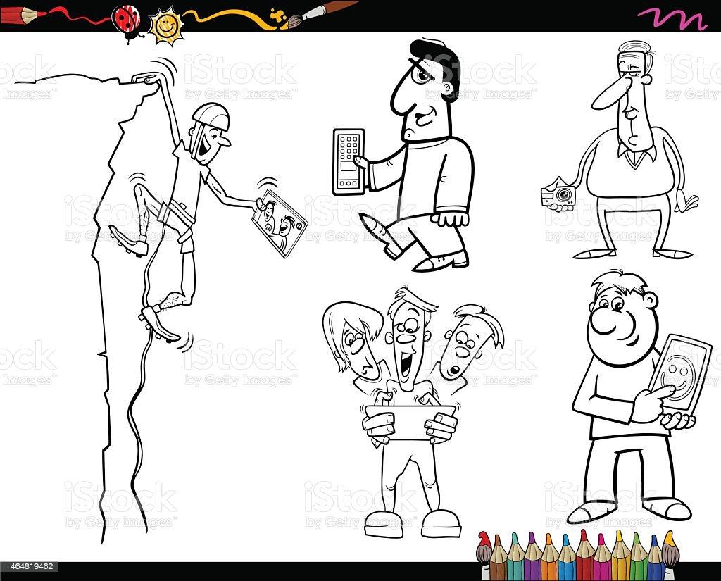 Ilustración De Personas Y Tecnología Para Colorear Página Y