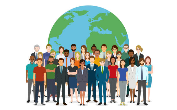 People and the earth vector art illustration