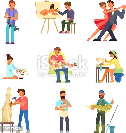 Group of people enjoying their hobbies vector flat illustration. Photography painting, dancing, playing guitar, bonsai, sewing, sculpting, cake making and decorating, fishing.