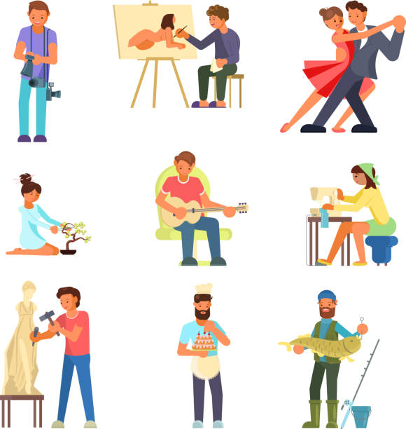People and their hobbies vector flat illustration Group of people enjoying their hobbies vector flat illustration. Photography painting, dancing, playing guitar, bonsai, sewing, sculpting, cake making and decorating, fishing. hobbies stock illustrations