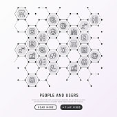People and users concept in honeycombs with thin line icons: management; communication; human resourses; teamwork; candidate. Modern vector illustration; web page template.