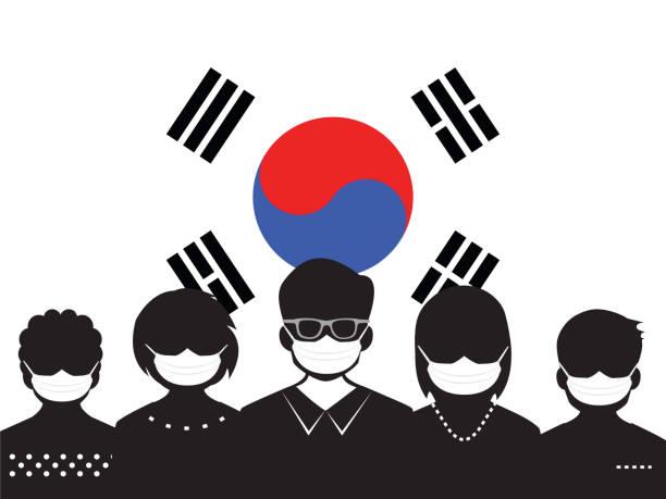 stockillustraties, clipart, cartoons en iconen met mensen en virus outbreak - zuid korea