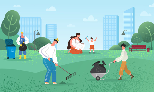 People and volunteers clean the park, utilize the rubbish, sort plastic bottles. Ecology and cooperation concept