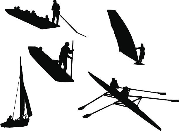 People and Water (silhouette, vector drawing) vector art illustration