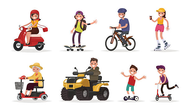 People and wheeled: vehicles, scooter, skateboard, bicycle People and wheeled: vehicles, scooter, skateboard, bicycle, roller skates, gyroscooter, ATV. Vector illustration in a flat style quadbike stock illustrations