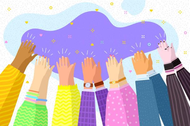 stockillustraties, clipart, cartoons en iconen met mensen juichen. menselijke handen klappen ovation. business concept - cheering