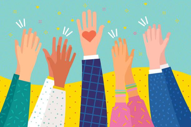 stockillustraties, clipart, cartoons en iconen met mensen toejuichen. menselijke handen klappen ovatie. plat ontwerp, bedrijfsconcept. - cheering
