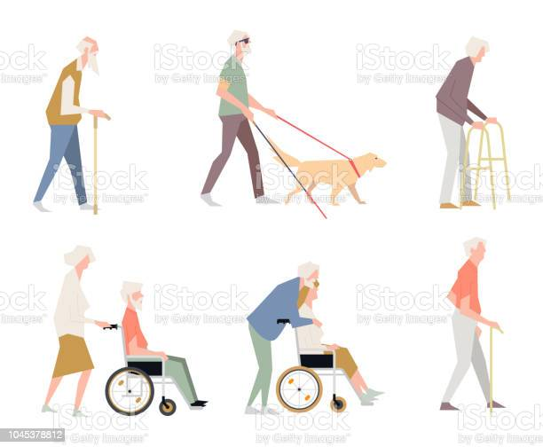 People are disabled on the street pensioners on a wheelchair a person vector id1045378812?b=1&k=6&m=1045378812&s=612x612&h=o03aui2awvk6rbgaabhvybtu8btju9v1ul0udnwhjwc=