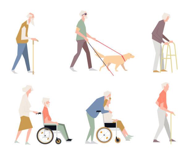 bildbanksillustrationer, clip art samt tecknat material och ikoner med människor har inaktiverats på gatan. pensionärer på en rullstol. en person med begränsade förmågor. - senior walking