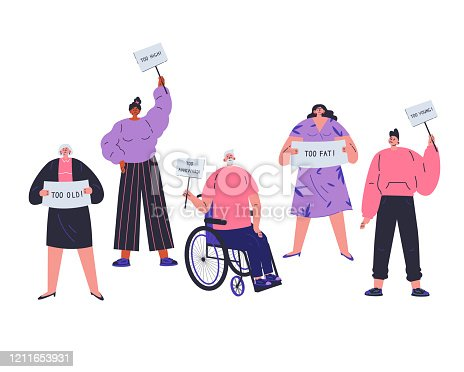People with different characteristics are discriminated against.Different people not fit the demands of society.Signs of discrimination against people.Too old,too fat,too young,too hight.Vector flat