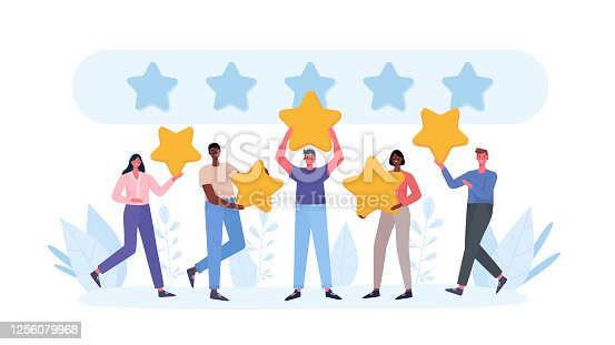 istock People are holding stars, giving five star Feedback. Clients choosing satisfaction rating and leaving positive review. Feedback consumer, customer review evaluation. Flat cartoon vector illustration. 1256079968