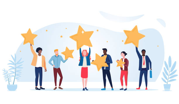 People are holding stars over the heads. Feedback consumer or customer review evaluation, satisfaction level and critic icon concept People are holding stars over the heads. Feedback consumer or customer review evaluation, satisfaction level and critic icon concept. Vector illustration critic stock illustrations