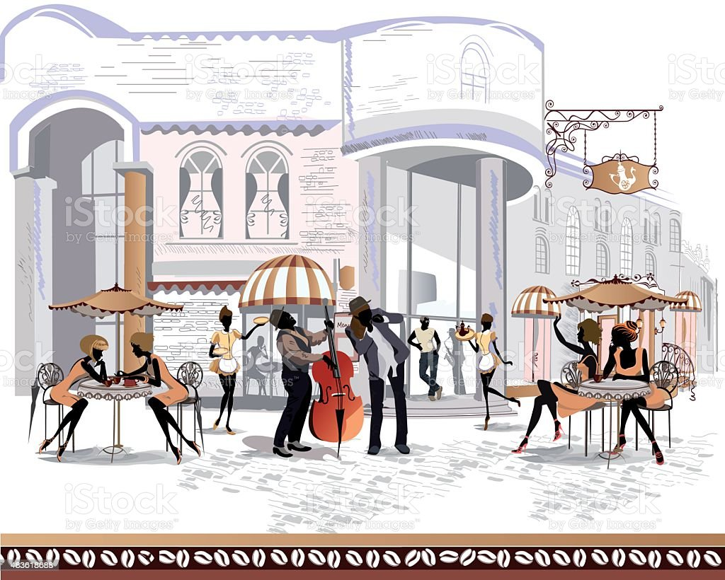 People are in the street cafe in the old city vector art illustration