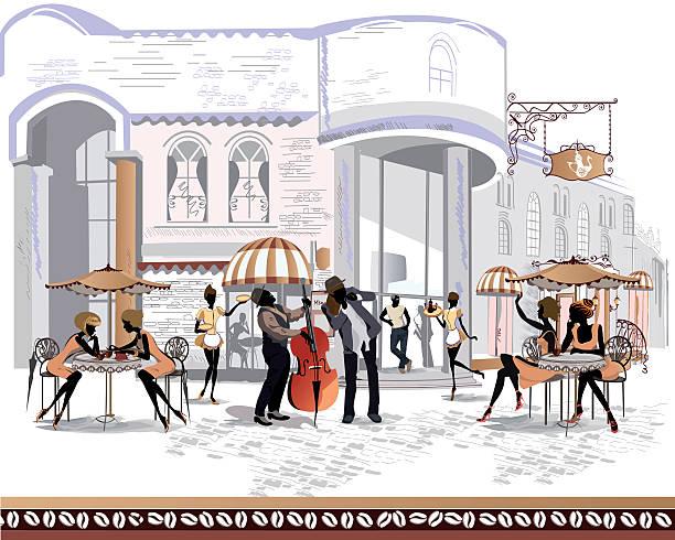 人々は、ストリートカフェ」では、旧市街 - ロンドンのファッション点のイラスト素材/クリップアート素材/マンガ素材/アイコン素材