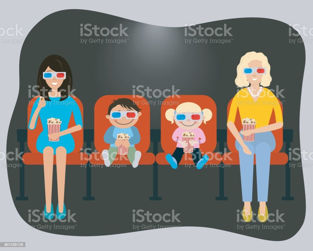 People are watching a movie in the cinema vector art illustration