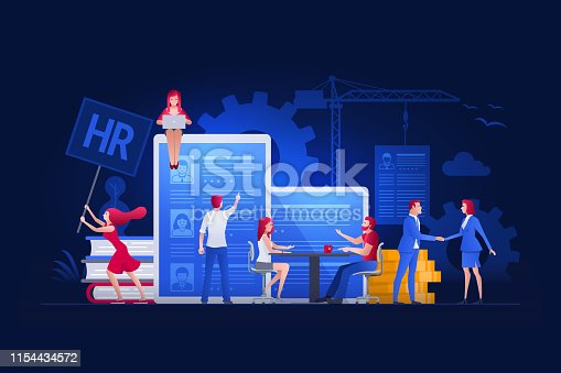 Vector illustration people are working on hiring, human resources and recruitment together. Concept illustration.