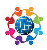 People around blue world icon vector