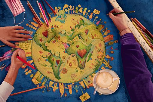 People around the world sharing love, children's drawing