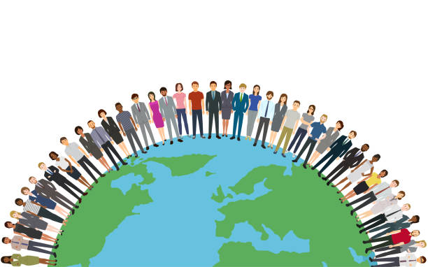 People around the world vector art illustration