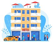 istock People arrive to hotel, men and women with baggage, vector illustration 1226006801