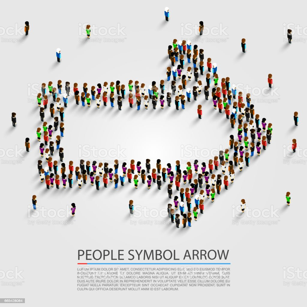 People arrow isometric, Arrow group sign, Vector illustration