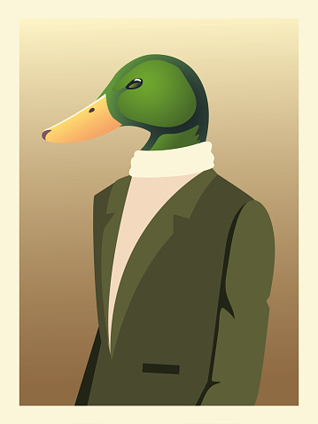 people art animals, duck character fashion hipster and vintage clothes