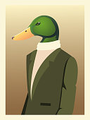istock people art animals, duck character fashion hipster and vintage clothes 1294728072