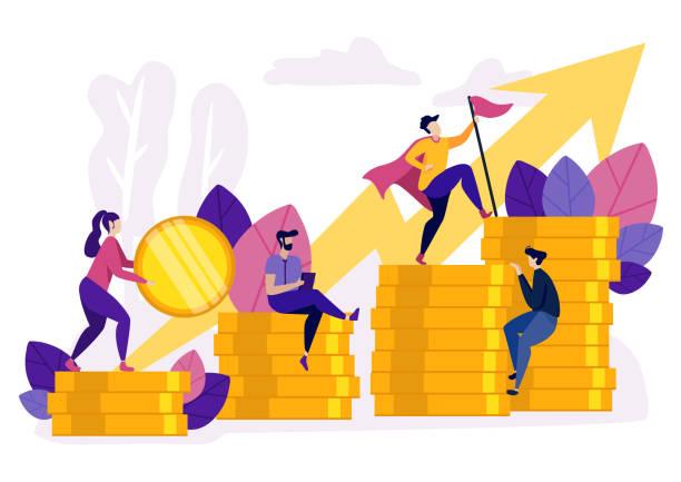 ilustraciones, imágenes clip art, dibujos animados e iconos de stock de gente subiendo por monedas gráfico crecimiento financiero. - mountain top