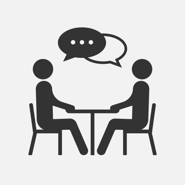 people at a table talking, icon isolated on white background. vector illustration. - couple stock illustrations