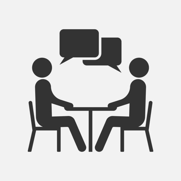 bildbanksillustrationer, clip art samt tecknat material och ikoner med folket på en tabell som talar, ikonen isolerade på vit bakgrund. vektorillustration. - två människor