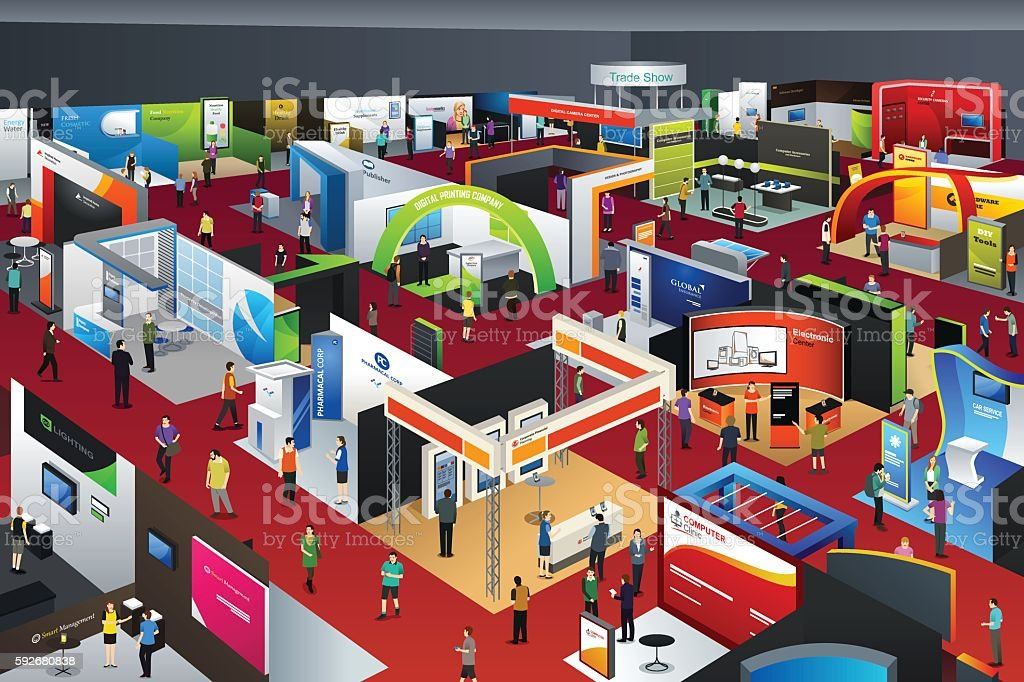 Exhibition Stall Vector : People at an exhibition stock vector art more images of