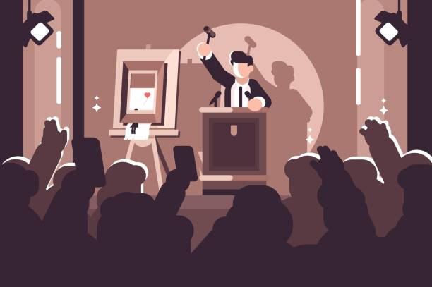 People at auction of art flat poster vector art illustration