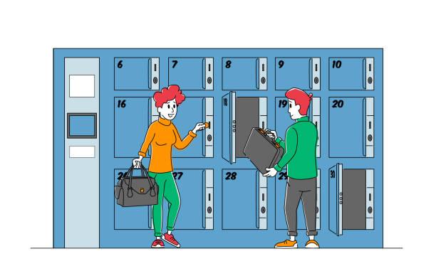 bildbanksillustrationer, clip art samt tecknat material och ikoner med personer på bagageförvaring. manliga och kvinnliga karaktärer använd bagage keeping service sätta väskor i betalda numrerade skåp, metalllådor på flygplatsen, bank, gym eller stormarknad. linjär vektorillustration - temporär
