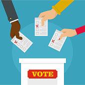 People at ballot box background. Flat illustration of people at ballot box vector background for web design