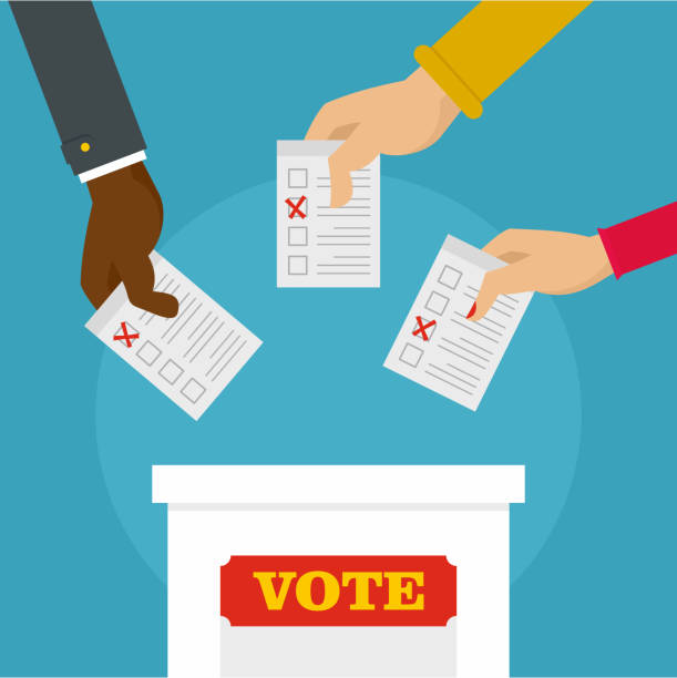 People at ballot box background, flat style People at ballot box background. Flat illustration of people at ballot box vector background for web design voting stock illustrations