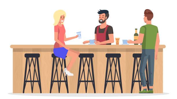 인테리어 바에서 사람들입니다. 벡터 평면 그림입니다. - bartender stock illustrations