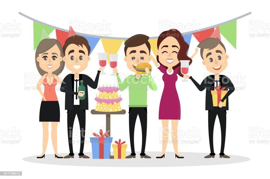 happy birthday office illustrations  royalty