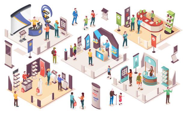 ludzie na wystawie, wektorowe ikony izometryczne. wystawa technologiczna i biznesowa ze stoiskami wystawowymi produktów, konsultantami firmowymi, punktami informacyjnymi, banerami promocyjnymi i gablotami - rzut izometryczny stock illustrations