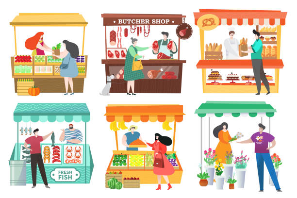 People at food market buy and sell farm products, fruit and vegetable stall, vector illustration People at food market buy and sell farm products, fruit and vegetable stall, vector illustration. Healthy food at marketplace, men and women cartoon characters. Butcher shop, bakery and seafood market ethical consumerism stock illustrations