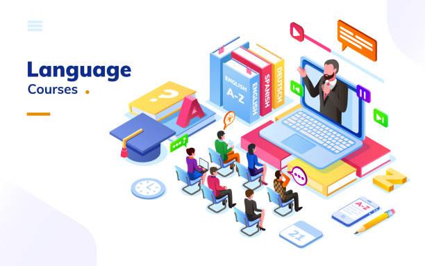 ilustraciones, imágenes clip art, dibujos animados e iconos de stock de las personas en cursos extranjeros de idiomas internacionales - training