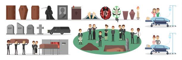 bildbanksillustrationer, clip art samt tecknat material och ikoner med personer vid begravning uppsättningen - ljus på grav