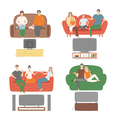 People at Home, Family and Friends Watching TV