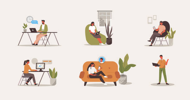 people at home office vector art illustration