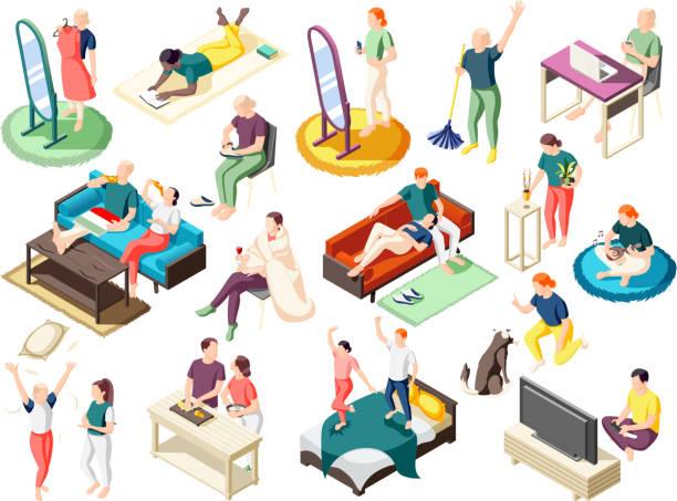 週末のアイソメトリックアイコンで自宅にいる人々 - アイソメトリック点のイラスト素材/クリップアート素材/マンガ素材/アイコン素材