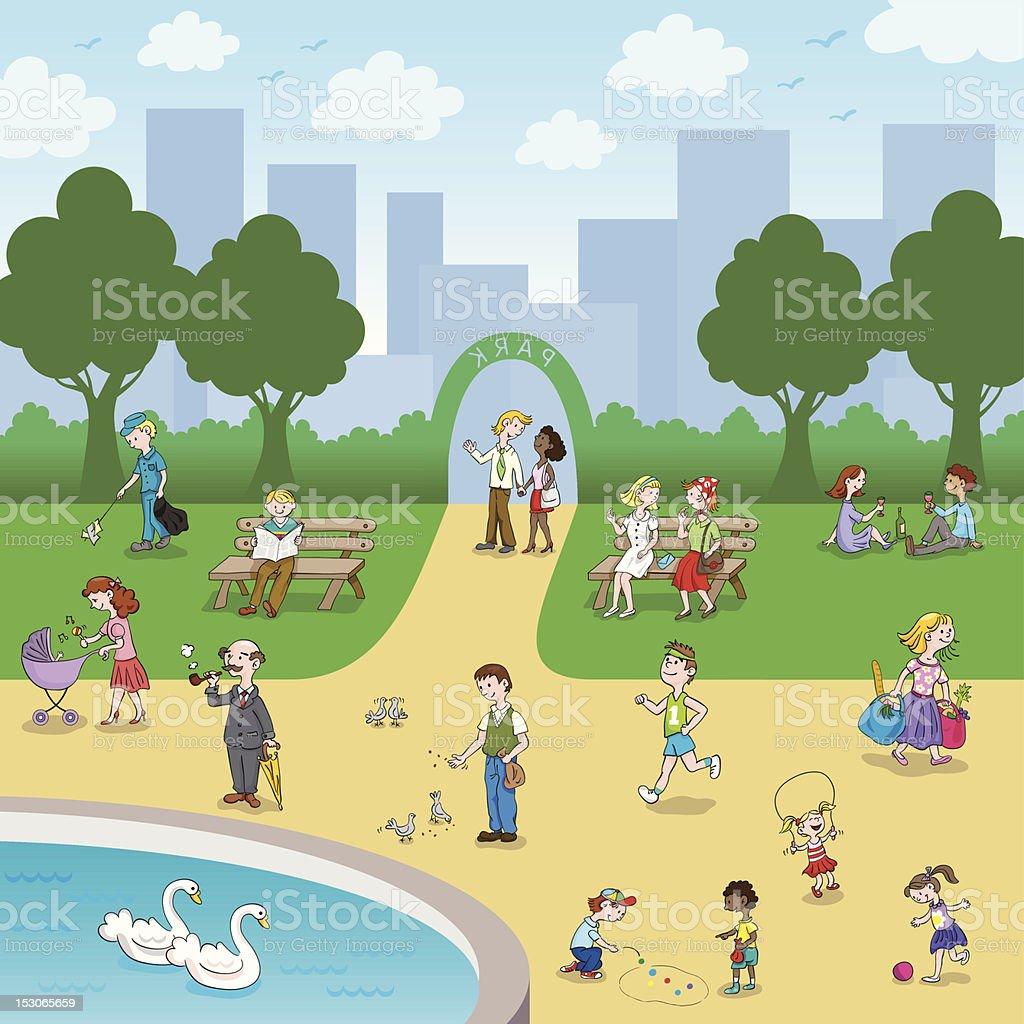 People at Park vector art illustration