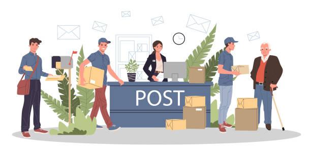 bildbanksillustrationer, clip art samt tecknat material och ikoner med personer på postkontor som tar emot paket och e-post - arbeta köksbord man